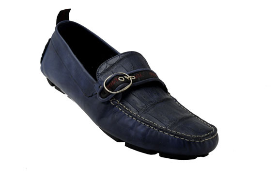 "Mauri ""Golden Touch"" Hand-Painted Navy Blue Genuine Crocodile   Calfskin  Loafer Shoes With Buckle 9272 95299320447"